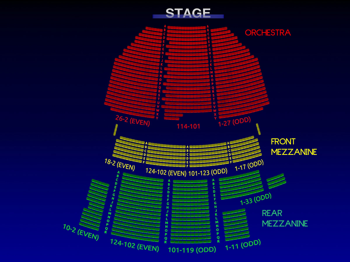 Broadway theatre broadway seating chart musical for Broadway plan