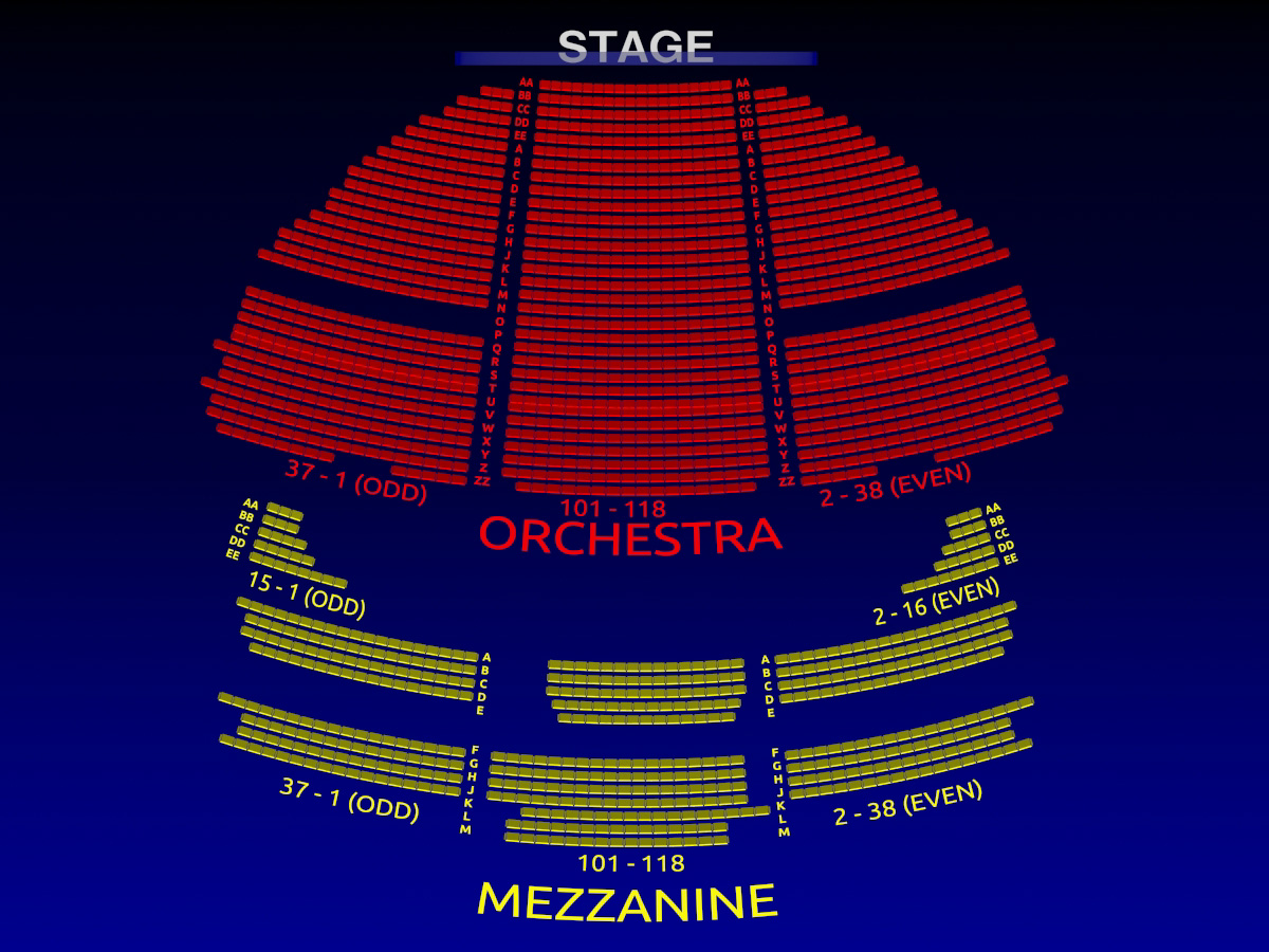 Gershwin theatre seating chart the gershwin theatre on for Broadway plan