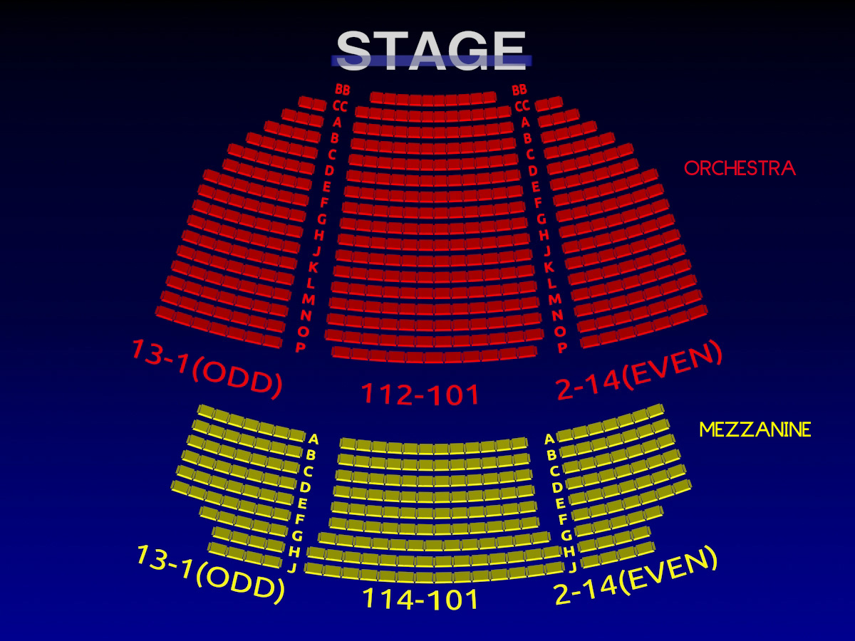 Helen hayes theatre rock of ages 3 d broadway seating for Broadway plan