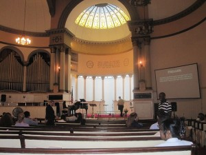 The First Baptist Church interior.
