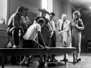 The West Side Story (1957) creators, including from left , Bernstein, Laurents, Robbins, and Sondheim,