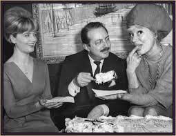 Florence Henderson, left, and Carol Channing, right, celebrating Merrick's 10th anniversary as a Broadway producer.
