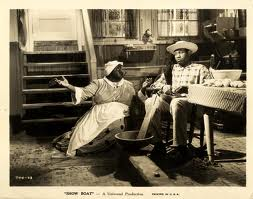 Race was a major issue in Show Boat. Hattie McDaniel (Queenie) and Paul Robeson (Joe) in the 1936 film.