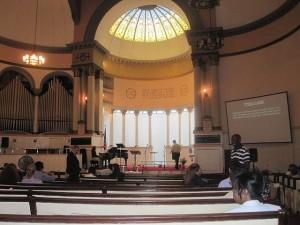 The First Baptist Church interior.
